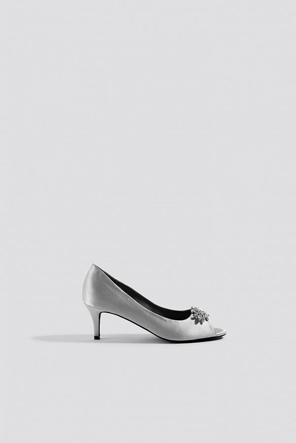 NA-KD Shoes Open Toe Embellished Pumps grå silver