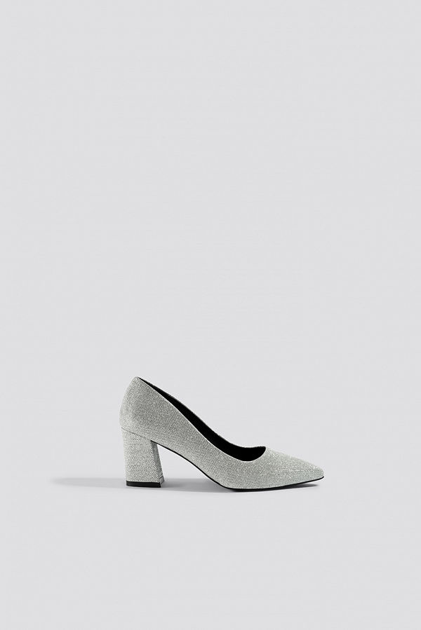 NA-KD Shoes Sparkling Block Heel Pumps silver