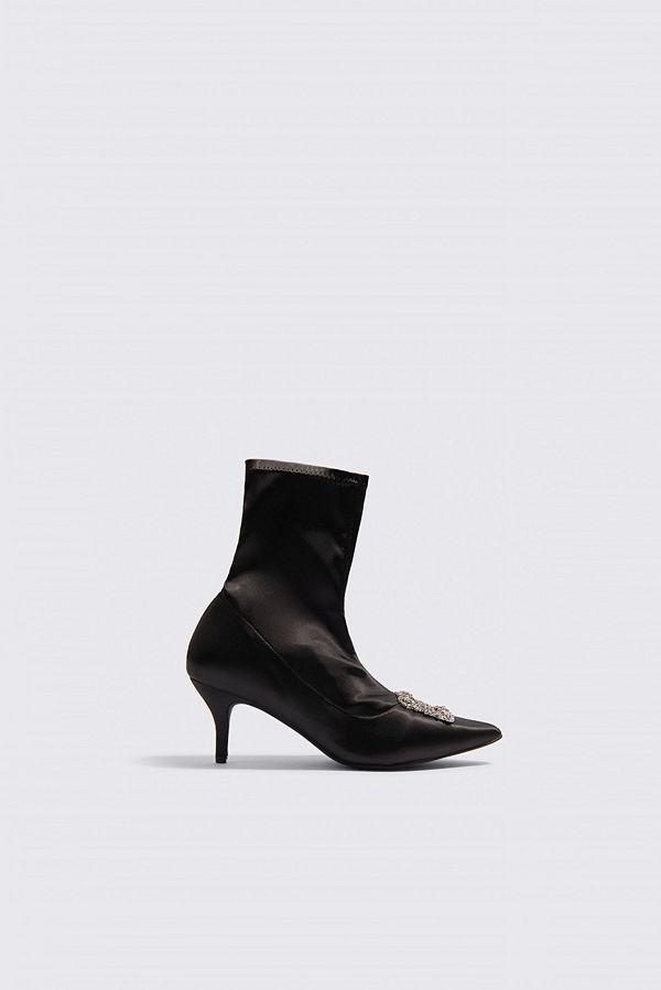 NA-KD Shoes Embellished Satin Sock Boots - Högklackat