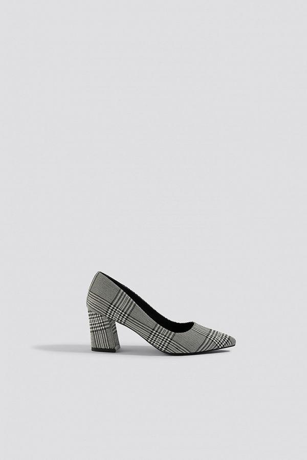 NA-KD Shoes Checked Block Heel Pumps grå multicolor