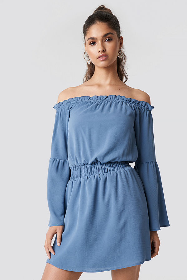 NA-KD Boho Wide Sleeve Off Shoulder Dress blå