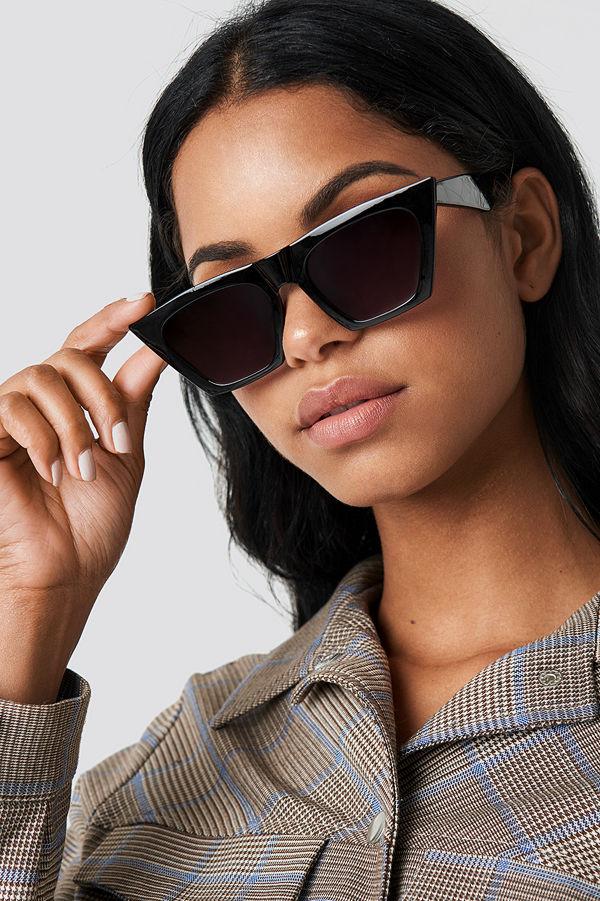 NA-KD Accessories Sharp Square Cateye Sunglasses svart