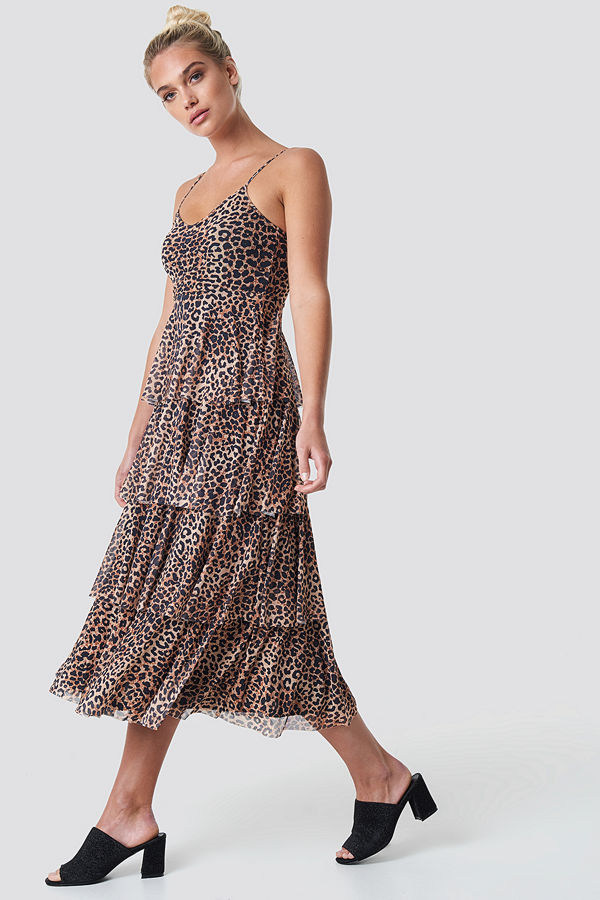 NA-KD Mesh Layered Slip Dress brun