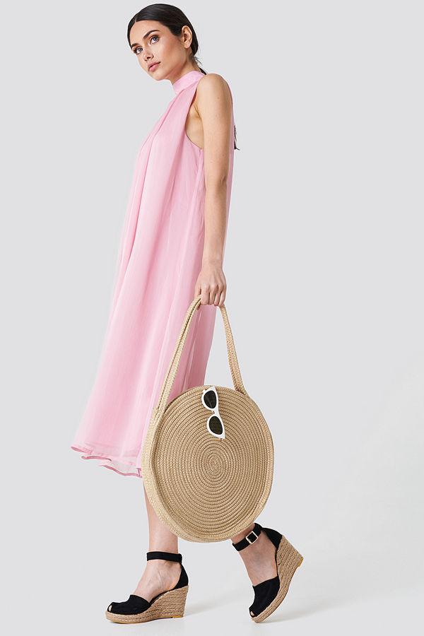NA-KD High Neck Pleated Dress rosa