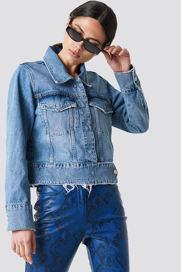 NA-KD Trend Cropped Big Pocket Denim Jacket blå