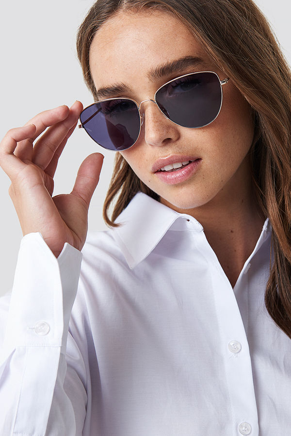 NA-KD Accessories Round Metal Cat Eye Sunglasses - Solglasögon