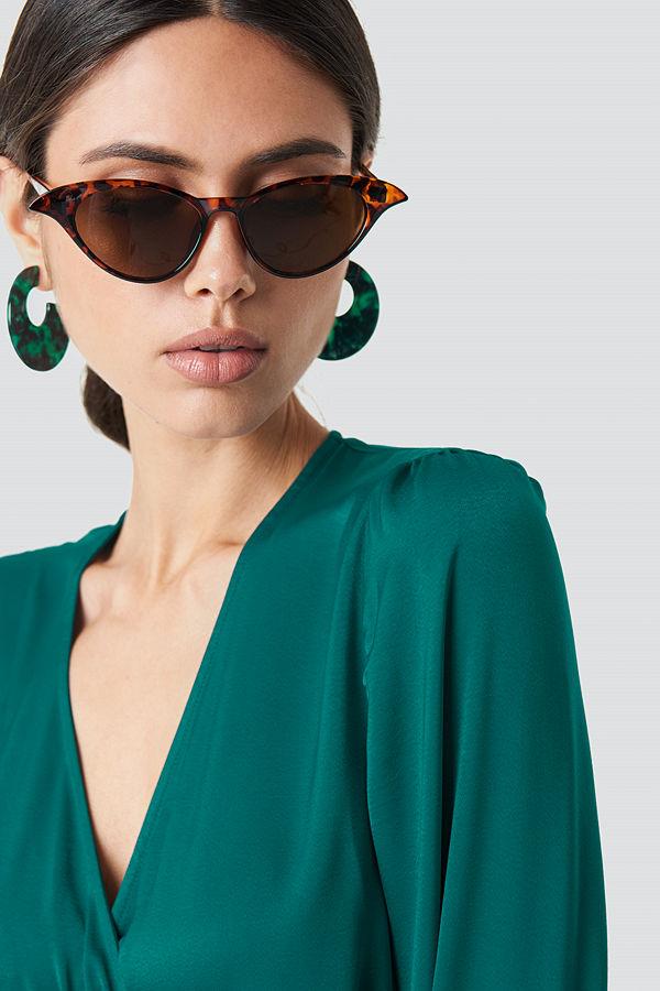 NA-KD Accessories Drop Edge Cateye Sunglasses brun