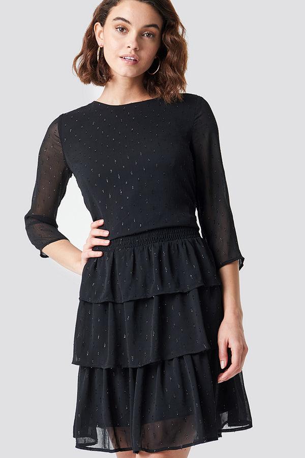 Rut & Circle Glitter Dot Frill Dress svart