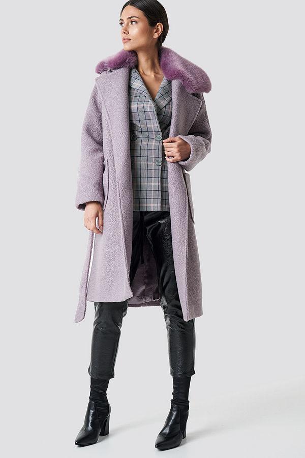 NA-KD Trend Big Faux Fur Collar Coat lila