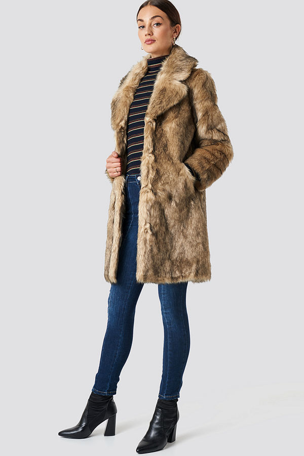 NA-KD Trend Faux Fur Collar Long Jacket brun