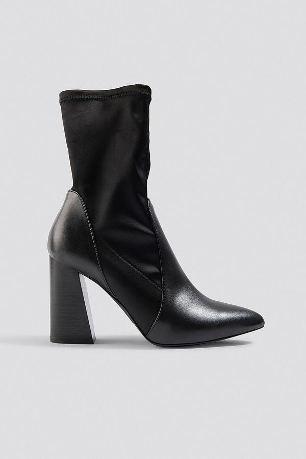 NA-KD Shoes PU Satin Sock Boots - Högklackat
