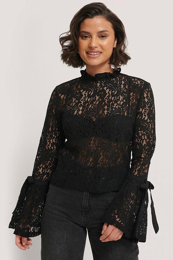NA-KD Boho Wide Sleeve Lace Top svart