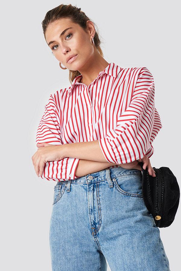 Trendyol Striped Quarter Sleeve Shirt - Skjortor