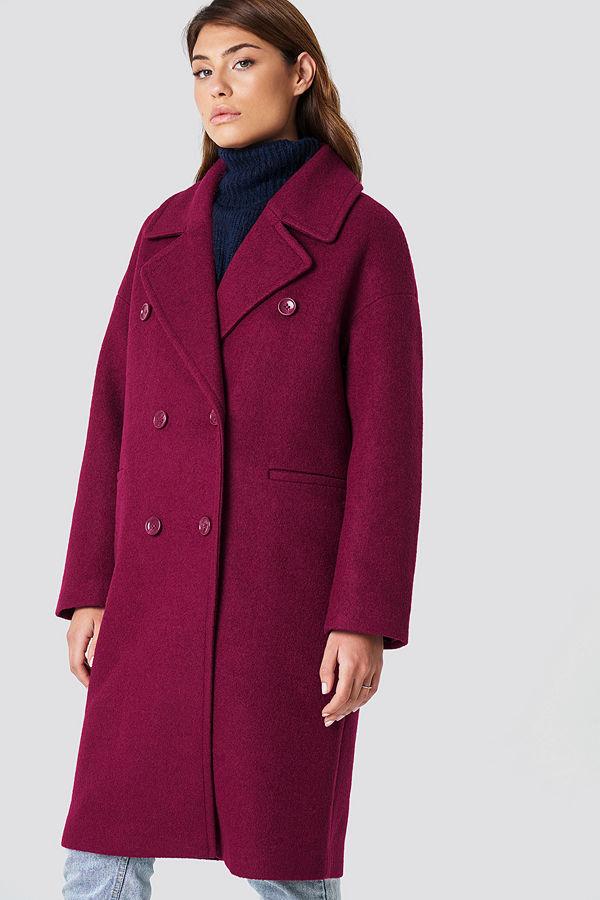 NA-KD Oversized Double Breasted Coat rosa lila