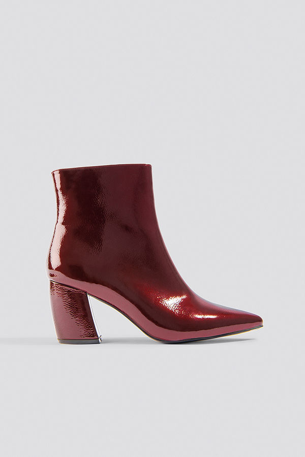 NA-KD Shoes Structured Patent Mid Heel Boots röd