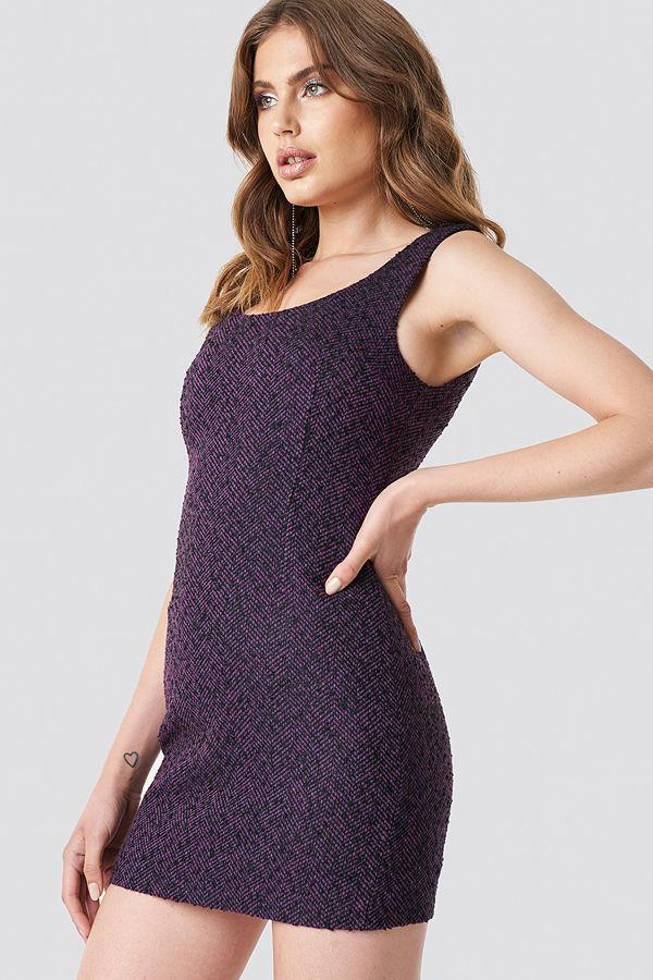 e034360c Galore x NA-KD Boucle Short Dress lila - Klänningar online ...