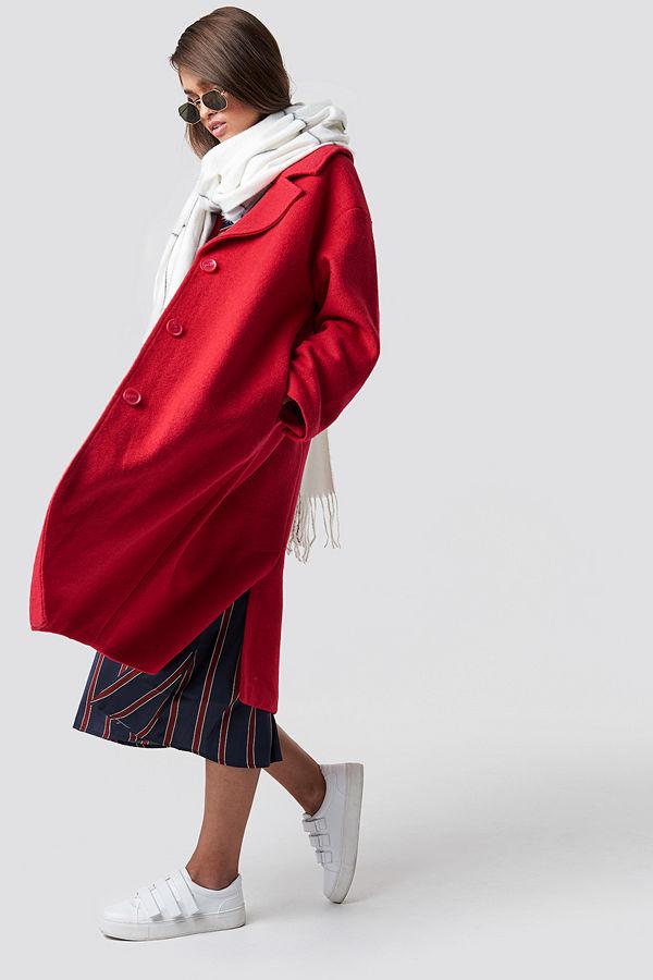 Hannalicious x NA-KD Oversized Wool Blend Coat röd