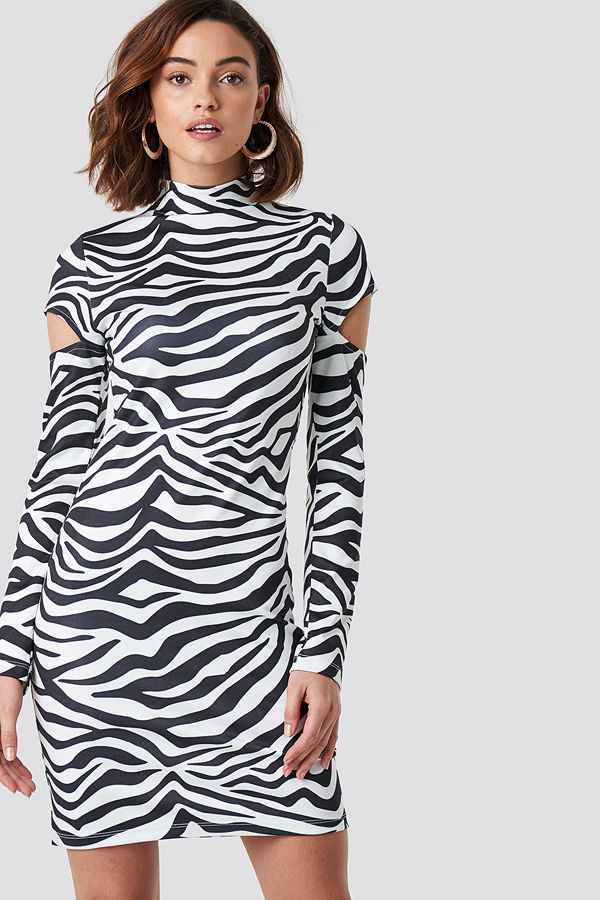 NA-KD High Neck Cut Out Sleeve Dress multicolor