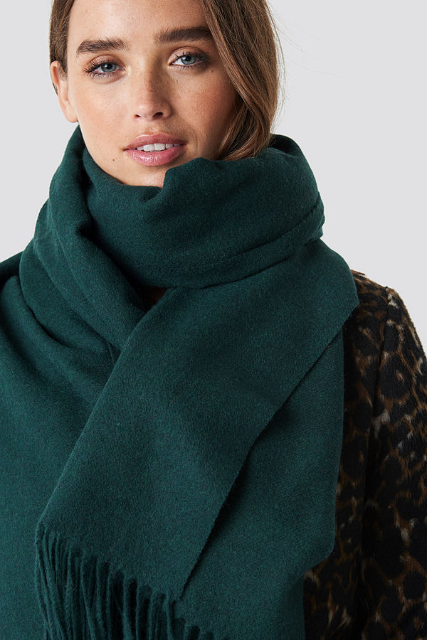 NA-KD Accessories Wool Blend Scarf grön