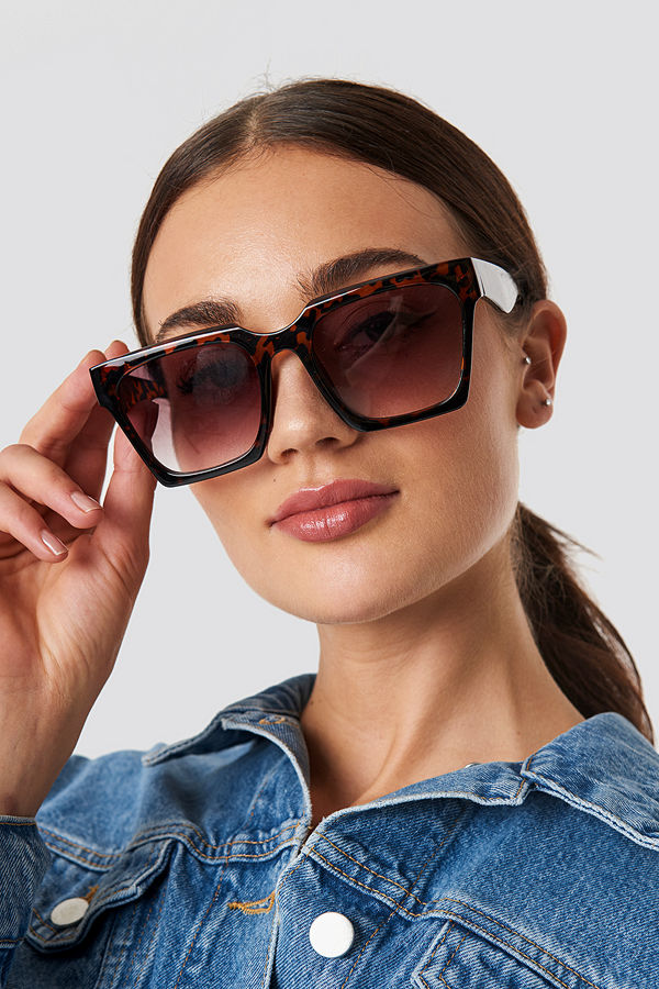 NA-KD Accessories Oversize Squared Sunglasses brun