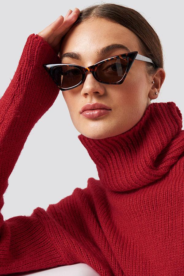 NA-KD Accessories Sharp Top Cat Eye Sunglasses brun