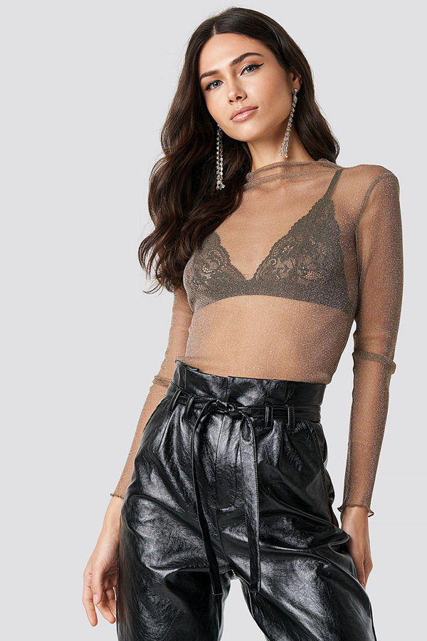 NA-KD Party Glittery High Neck Mesh Top beige
