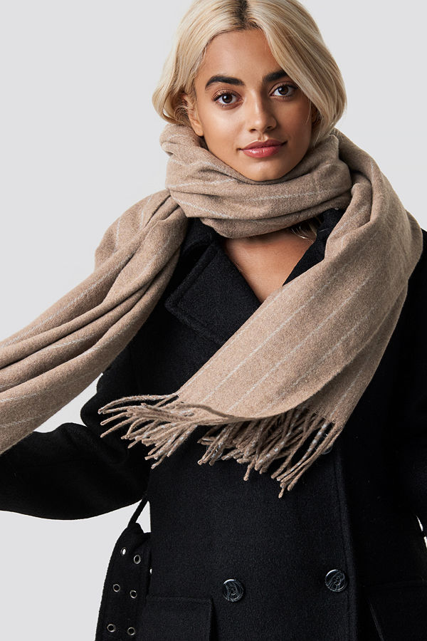 NA-KD Accessories Woven Pinstripe Scarf beige