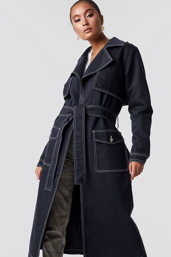 NA-KD Oversized Denim Coat blå