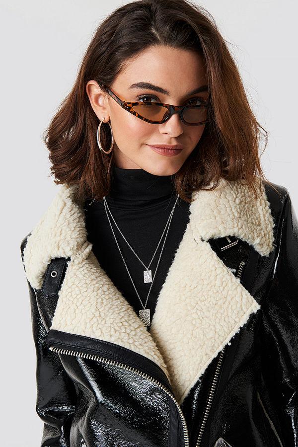 Emilie Briting x NA-KD Leopard cateye sunglasses brun