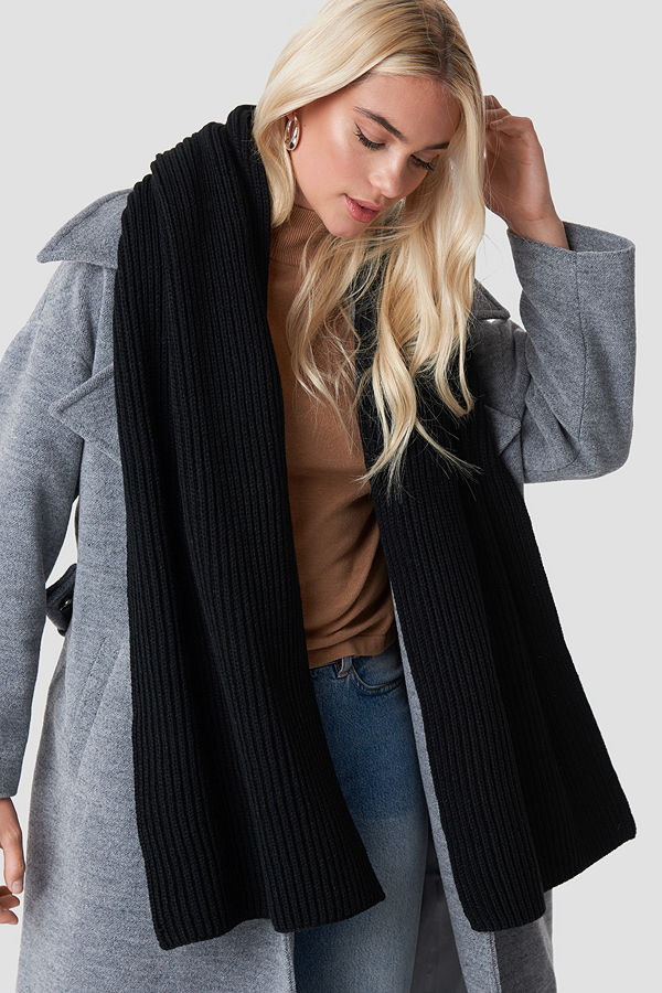 NA-KD Accessories Basic Knitted Scarf svart