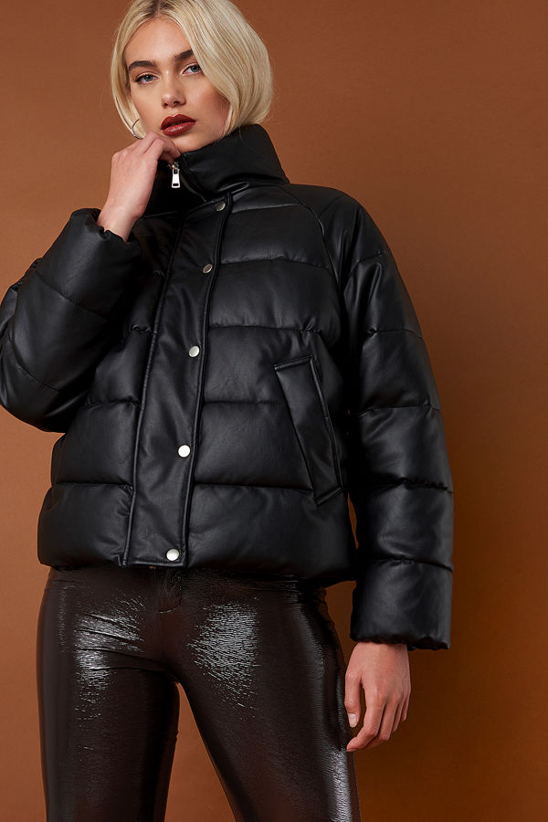 NA-KD Padded PU Leather Jacket svart