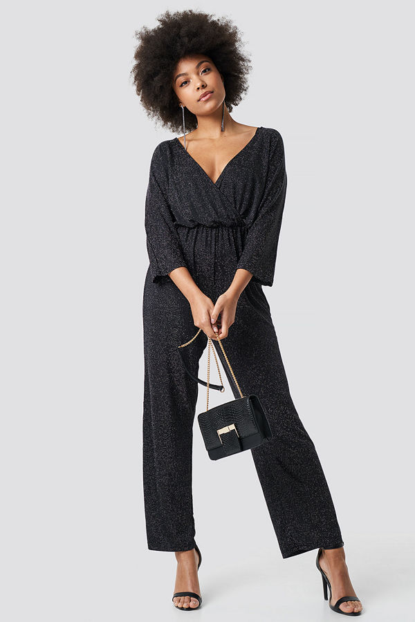 NA-KD Party Glittery Jumpsuit silver