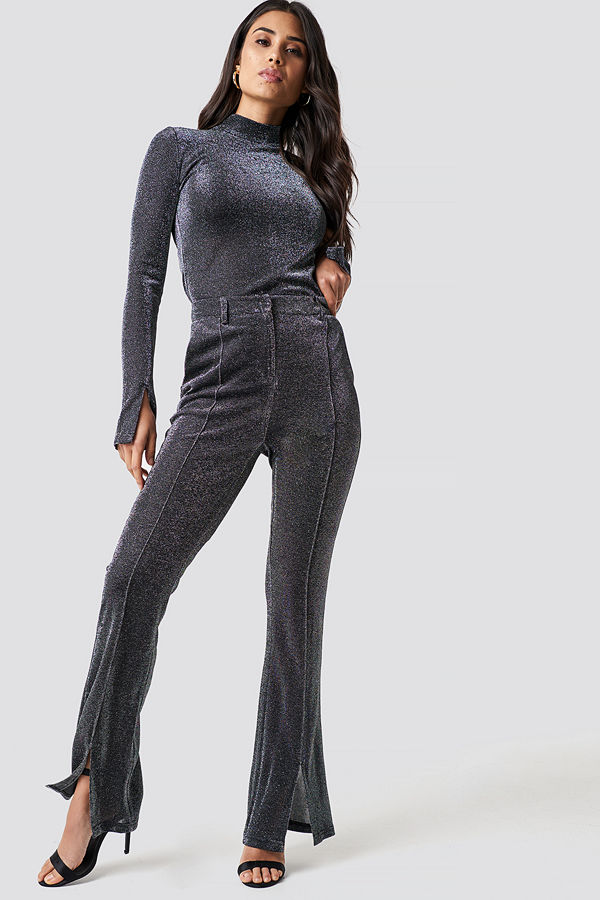 Dilara x NA-KD svarta byxor Sparkly Flared Pants silver