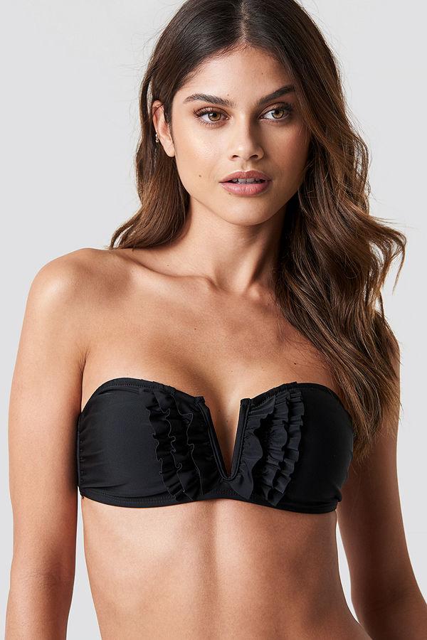 NA-KD Swimwear Frill Deep V Bandeau Bikini svart