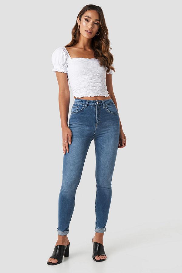 NA-KD Skinny Raw Hem Jeans blå