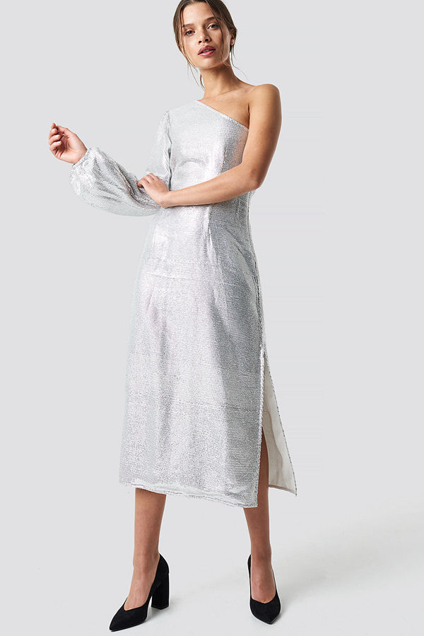 NA-KD Party One Shoulder Balloon Sleeve Midi Dress silver