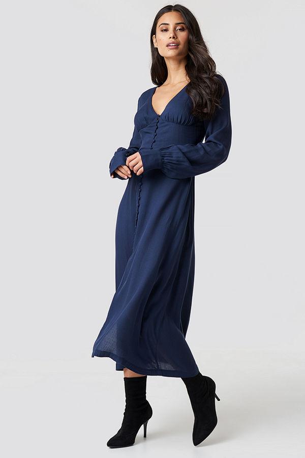 Chloé B x NA-KD Buttoned Midi Dress blå