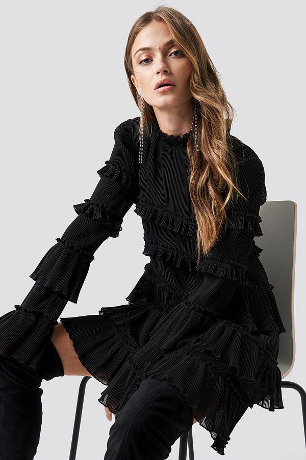 NA-KD Party High Neck Layered Mini Dress svart