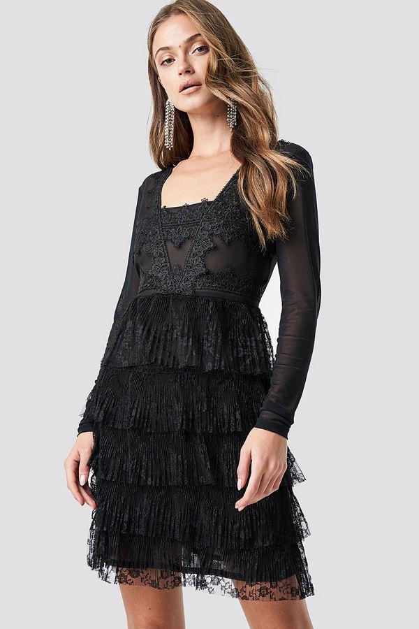 NA-KD Party Mesh Sleeve Lace Mini Dress svart