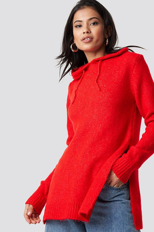 Trendyol Hooded Slit Knitted Sweater röd