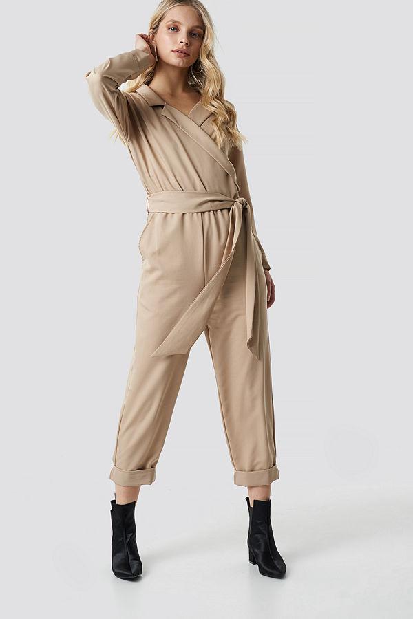 NA-KD Trend Waist Belted Lapel Jumpsuit beige