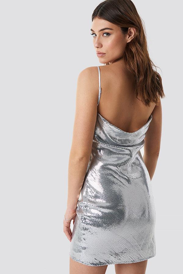 Linn Ahlborg x NA-KD Waterfall Back Dress silver