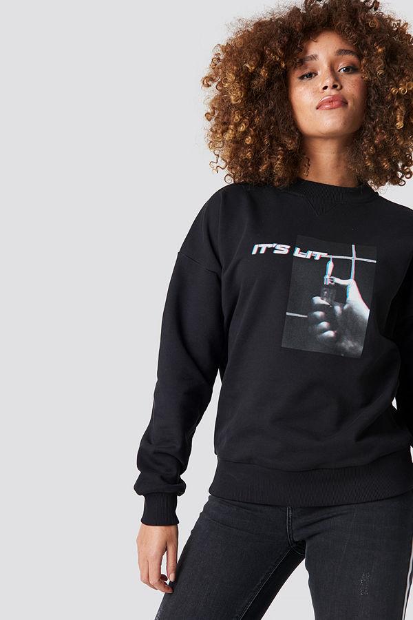 NA-KD It's Lit Sweatshirt svart