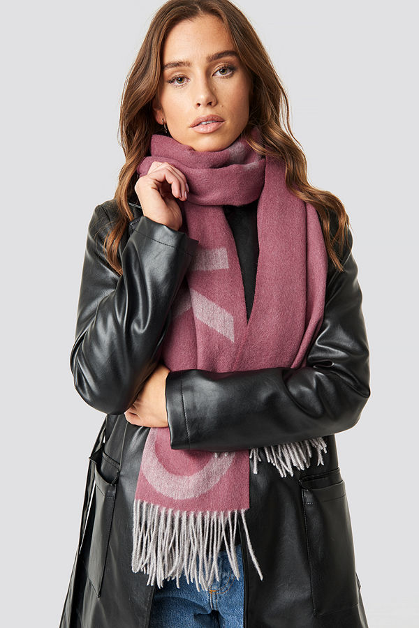 NA-KD Accessories Wool Logo Scarf rosa