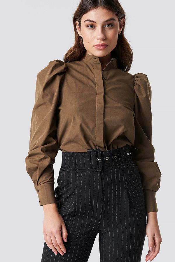 NA-KD Trend Puff Shoulder Cotton-blend Shirt brun