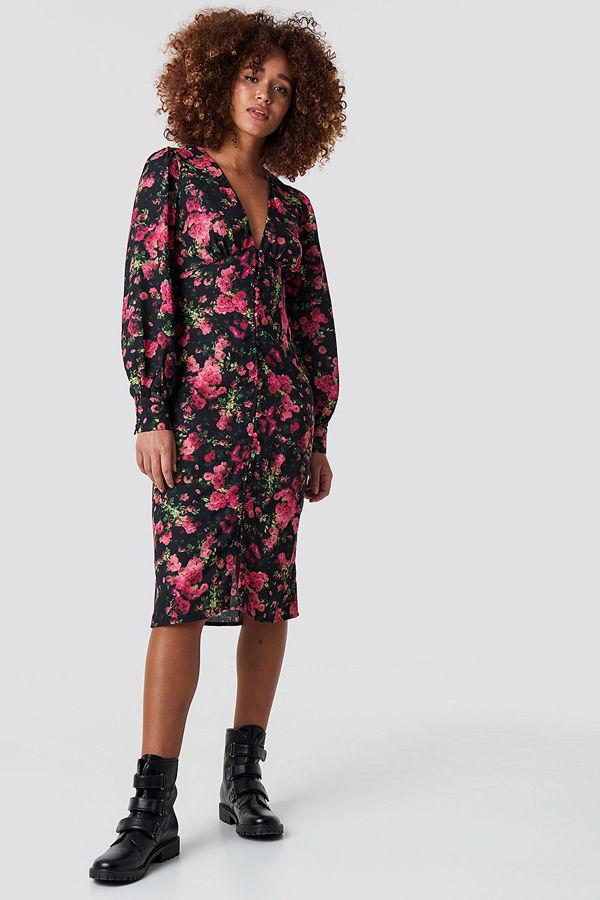 NA-KD Trend Buttoned Front V-Neck Dress multicolor