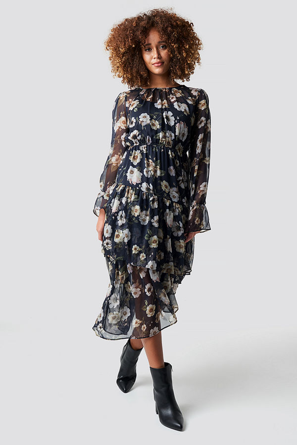 NA-KD Boho Asymmetric Chiffon Frill Dress blå