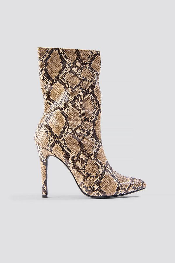 NA-KD Shoes High Heel Snake PU Stiletto Boot brun