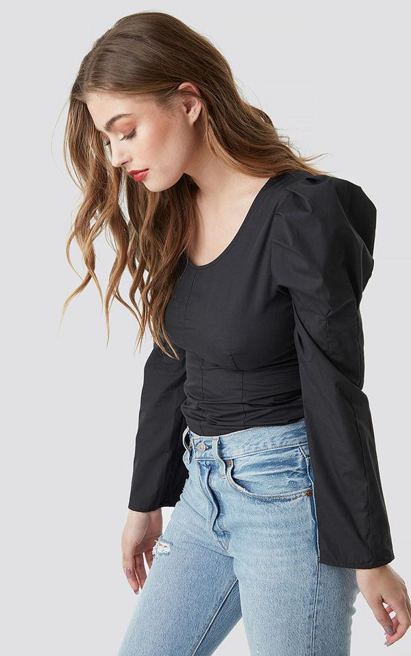 NA-KD Trend Round Neck Puff Sleeve Blouse svart