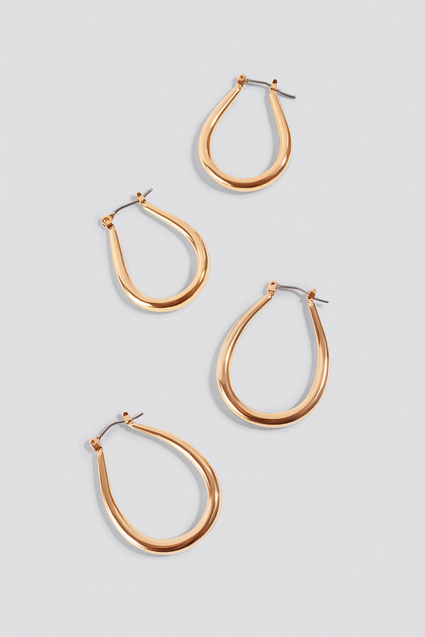 NA-KD Accessories smycke 2-pack Oval Hoops guld